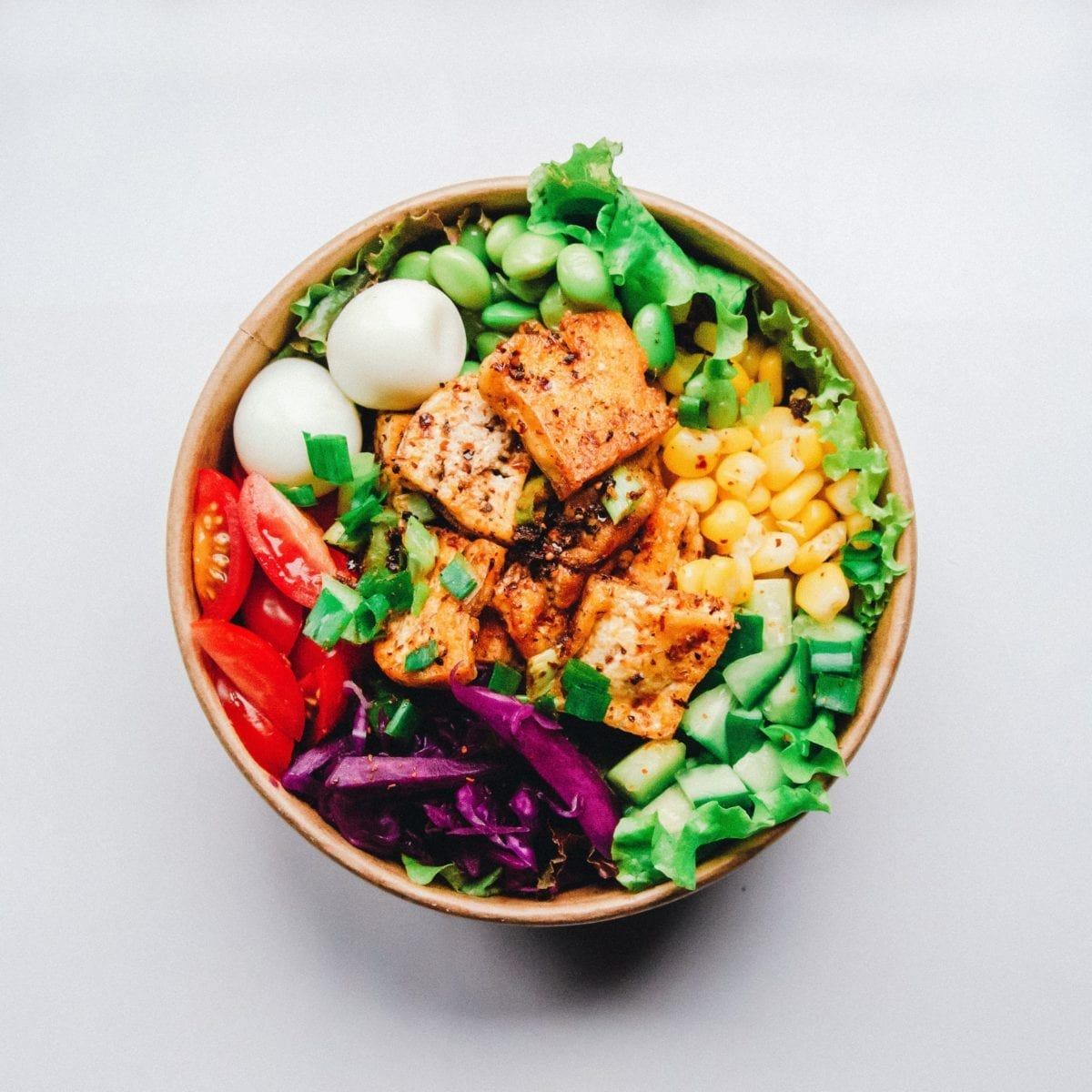 Mixed salad, high in protein and a diverse range of nutrients. Eat the rainbow
